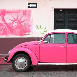 ¡Viva Mexico! Square Collection - Pink VW Beetle Car and American Graffiti by Philippe Hugonnard