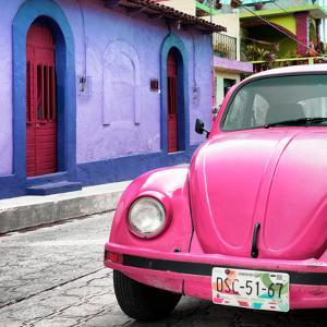 ¡Viva Mexico! Square Collection - Pink VW Beetle Car and Colorful House by Philippe Hugonnard