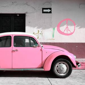 ¡Viva Mexico! Square Collection - Pink VW Beetle Car & Peace Symbol by Philippe Hugonnard