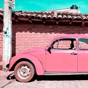 ¡Viva Mexico! Square Collection - Pink VW Beetle Car by Philippe Hugonnard