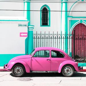 ¡Viva Mexico! Square Collection - Pink VW Beetle in San Cristobal by Philippe Hugonnard