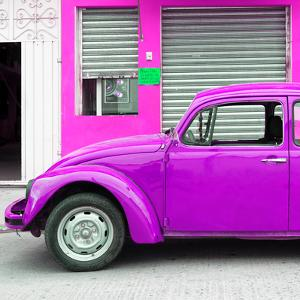 ¡Viva Mexico! Square Collection - Purple VW Beetle and Deep Pink Facade by Philippe Hugonnard