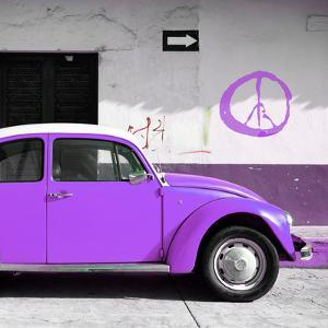 ¡Viva Mexico! Square Collection - Purple VW Beetle Car & Peace Symbol by Philippe Hugonnard