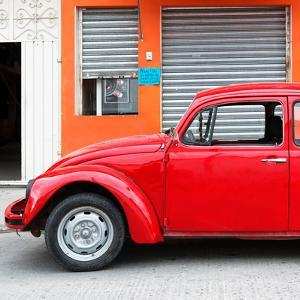 ¡Viva Mexico! Square Collection - Red VW Beetle and Orange Facade by Philippe Hugonnard