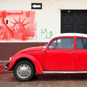 ¡Viva Mexico! Square Collection - Red VW Beetle Car and American Graffiti by Philippe Hugonnard