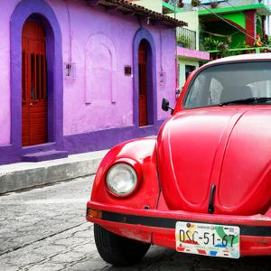 ¡Viva Mexico! Square Collection - Red VW Beetle Car and Colorful House by Philippe Hugonnard