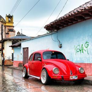 ¡Viva Mexico! Square Collection - Red VW Beetle Car in San Cristobal de Las Casas II by Philippe Hugonnard