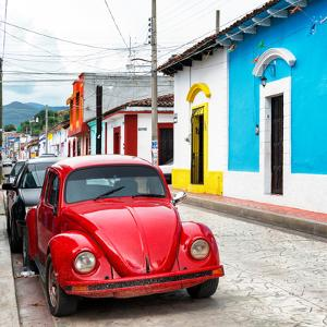 ¡Viva Mexico! Square Collection - Red VW Beetle Car in San Cristobal by Philippe Hugonnard