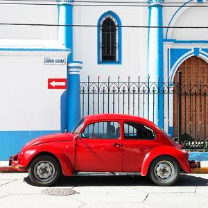 ¡Viva Mexico! Square Collection - Red VW Beetle in San Cristobal by Philippe Hugonnard