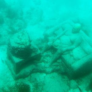 ¡Viva Mexico! Square Collection - Sculptures at bottom of sea in Cancun III by Philippe Hugonnard