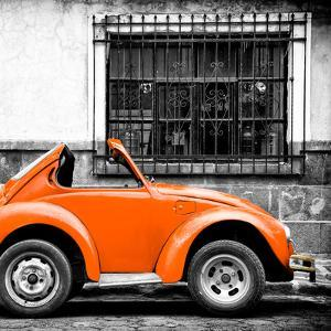 ¡Viva Mexico! Square Collection - Small Orange VW Beetle Car by Philippe Hugonnard