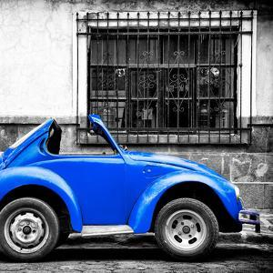 ¡Viva Mexico! Square Collection - Small Royal Blue VW Beetle Car by Philippe Hugonnard