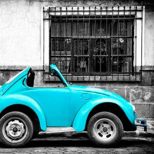 ¡Viva Mexico! Square Collection - Small Turquoise VW Beetle Car by Philippe Hugonnard