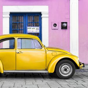 ¡Viva Mexico! Square Collection - The Gold VW Beetle Car with Light Pink Street Wall by Philippe Hugonnard