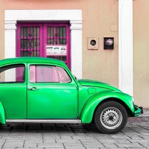 ¡Viva Mexico! Square Collection - The Green VW Beetle Car with Salmon Street Wall by Philippe Hugonnard