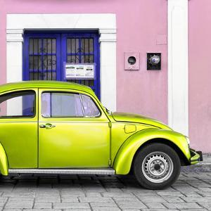 ¡Viva Mexico! Square Collection - The Lime Green VW Beetle Car with Light Pink Street Wall by Philippe Hugonnard