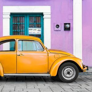 ¡Viva Mexico! Square Collection - The Orange VW Beetle Car with Mauve Street Wall by Philippe Hugonnard