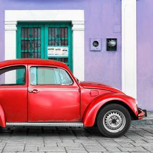 ¡Viva Mexico! Square Collection - The Red VW Beetle Car with Purple Street Wall by Philippe Hugonnard