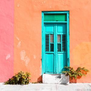 ¡Viva Mexico! Square Collection - Turquoise Door & Coral Wall in Campeche by Philippe Hugonnard