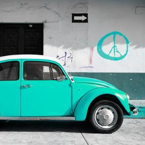 ¡Viva Mexico! Square Collection - Turquoise VW Beetle Car & Peace Symbol by Philippe Hugonnard