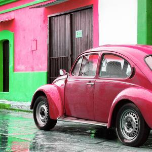 ¡Viva Mexico! Square Collection - VW Beetle and Pink Wall II by Philippe Hugonnard