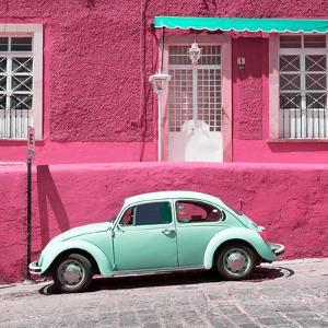¡Viva Mexico! Square Collection - VW Beetle Car and Pink Wall by Philippe Hugonnard