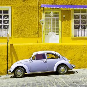 ¡Viva Mexico! Square Collection - VW Beetle Car and Yellow Wall by Philippe Hugonnard