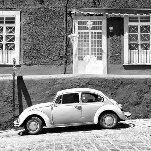 ¡Viva Mexico! Square Collection - VW Beetle Car B&W by Philippe Hugonnard