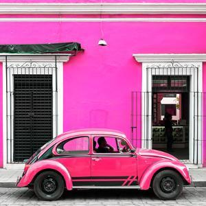 ¡Viva Mexico! Square Collection - VW Beetle Car - Deep & Hot Pink by Philippe Hugonnard