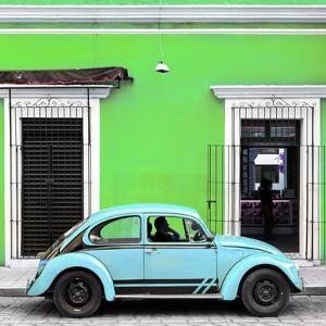 ¡Viva Mexico! Square Collection - VW Beetle Car - Lime Green & Powder Blue by Philippe Hugonnard
