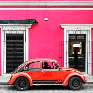 ¡Viva Mexico! Square Collection - VW Beetle Car - Pink & Red by Philippe Hugonnard