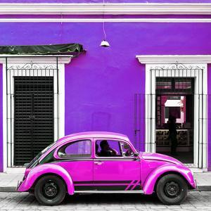 ¡Viva Mexico! Square Collection - VW Beetle Car - Purple & Deep Pink by Philippe Hugonnard