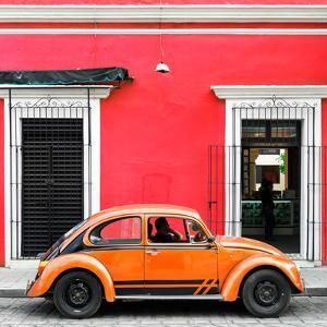 ¡Viva Mexico! Square Collection - VW Beetle Car - Red & Orange by Philippe Hugonnard