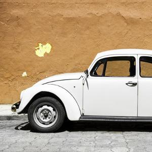 ¡Viva Mexico! Square Collection - White VW Beetle Car & Dark Beige Wall by Philippe Hugonnard