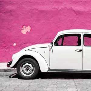 ¡Viva Mexico! Square Collection - White VW Beetle Car & Deep Pink Wall by Philippe Hugonnard
