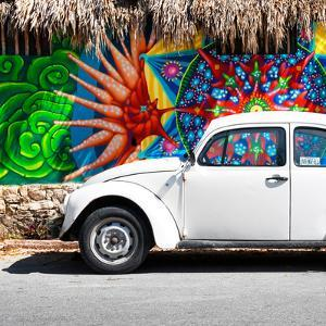 ¡Viva Mexico! Square Collection - White VW Beetle Car in Cancun by Philippe Hugonnard