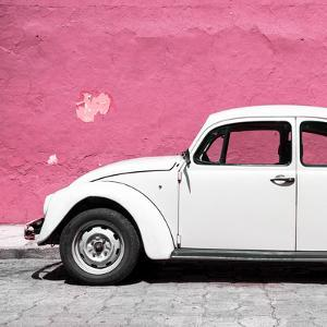 ¡Viva Mexico! Square Collection - White VW Beetle Car & Pink Wall by Philippe Hugonnard