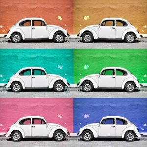 ¡Viva Mexico! Square Collection - White VW Beetle Cars & Color Walls by Philippe Hugonnard