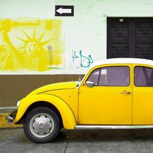 ¡Viva Mexico! Square Collection - Yellow VW Beetle Car and American Graffiti by Philippe Hugonnard