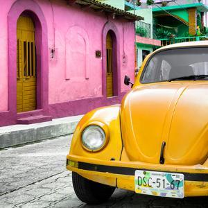 ¡Viva Mexico! Square Collection - Yellow VW Beetle Car and Colorful House by Philippe Hugonnard