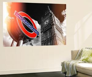 Wall Mural - Big Ben and Westminster Station Underground - Subway Station Sign - London - UK by Philippe Hugonnard