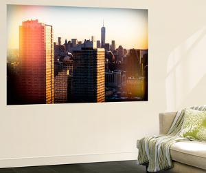 Wall Mural - Manhattan Cityscape at Sunset with the One World Trade Center - New York - USA by Philippe Hugonnard