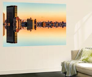 Wall Mural - Manhattan Double Sided with the New Yorker Hotel at Sunset - New York - USA by Philippe Hugonnard