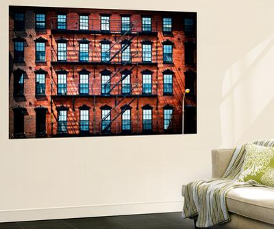 Wall Mural - New York Facade of Building with Fire Escapes - USA by Philippe Hugonnard