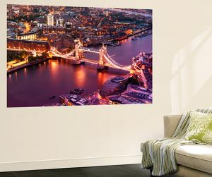 Wall Mural - View of City of London with the Tower Bridge at Night - London - UK by Philippe Hugonnard