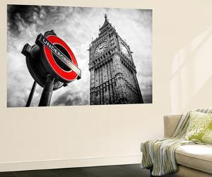 Wall Mural - Westminster Underground Sign - Subway Station Sign - Big Ben - City of London by Philippe Hugonnard