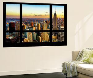 Wall Mural - Window View - Cityscape of Manhattan at Sunset - New York by Philippe Hugonnard