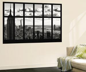 Wall Mural - Window View - Cityscape of Manhattan with the Empire State Building and 1 WTC - NYC by Philippe Hugonnard