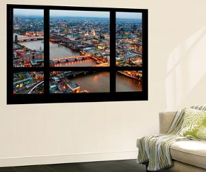 Wall Mural - Window View - London with St. Paul's Cathedral at Nightfall - River Thames by Philippe Hugonnard