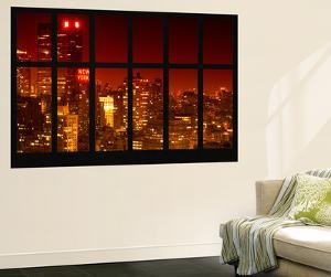 Wall Mural - Window View - Manhattan at Red Night with the New Yorker Hotel Sign - New York by Philippe Hugonnard
